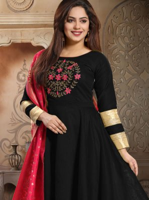 Embroidered Silk Readymade Salwar Kameez in Black