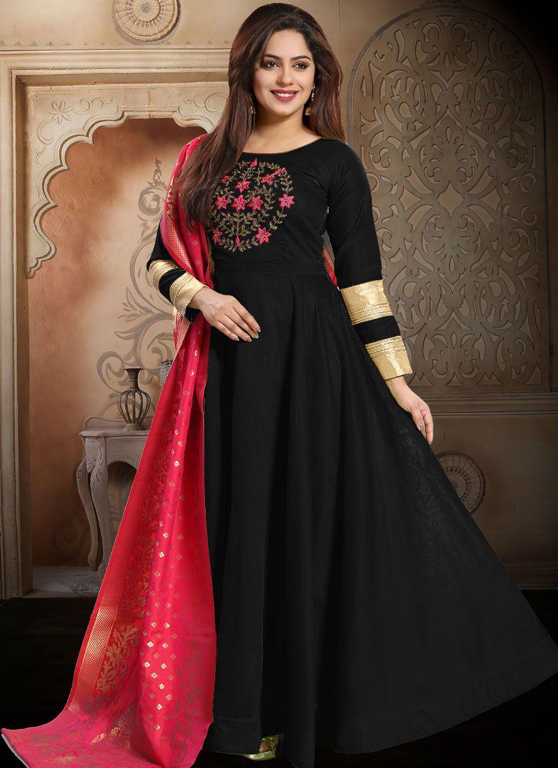 Embroidered Silk Readymade Salwar Kameez in Black