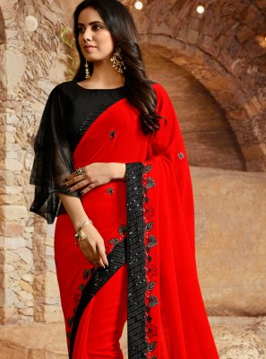 Embroidered Silk Red Traditional Saree