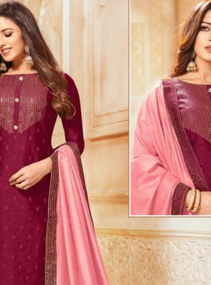 Embroidered Silk Salwar Kameez in Maroon