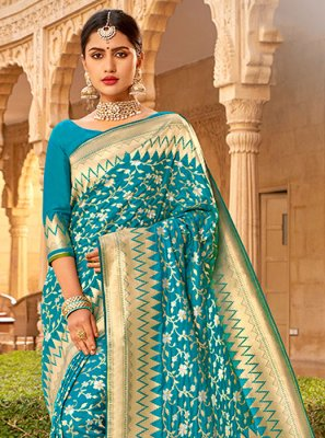 Embroidered Silk Silk Saree
