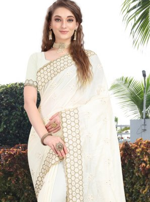 Embroidered Silk Silk Saree