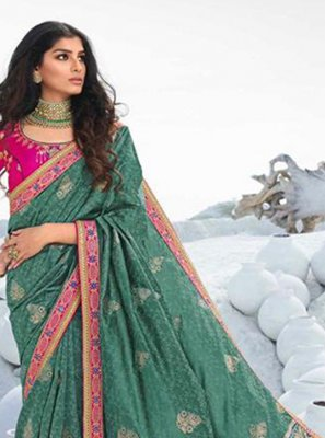 Embroidered Silk Teal Traditional Saree