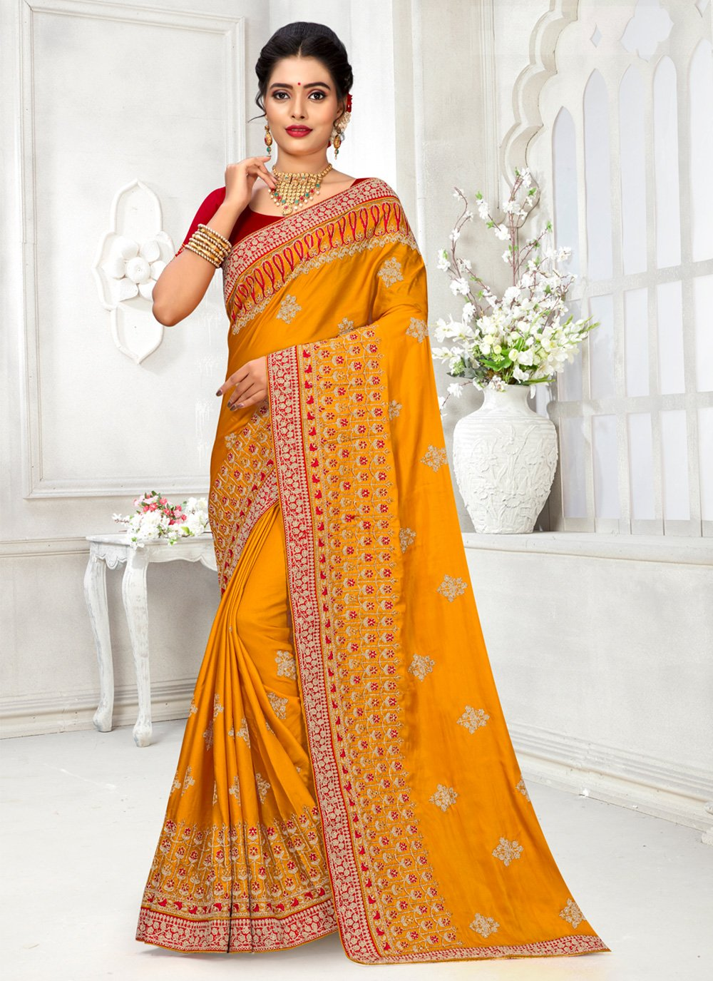 Embroidered Silk Traditional Designer Saree in Yellow