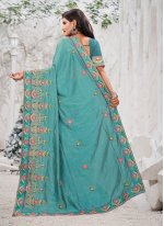 Embroidered Silk Traditional Saree in Blue