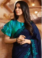 Embroidered Silk Traditional Saree in Teal