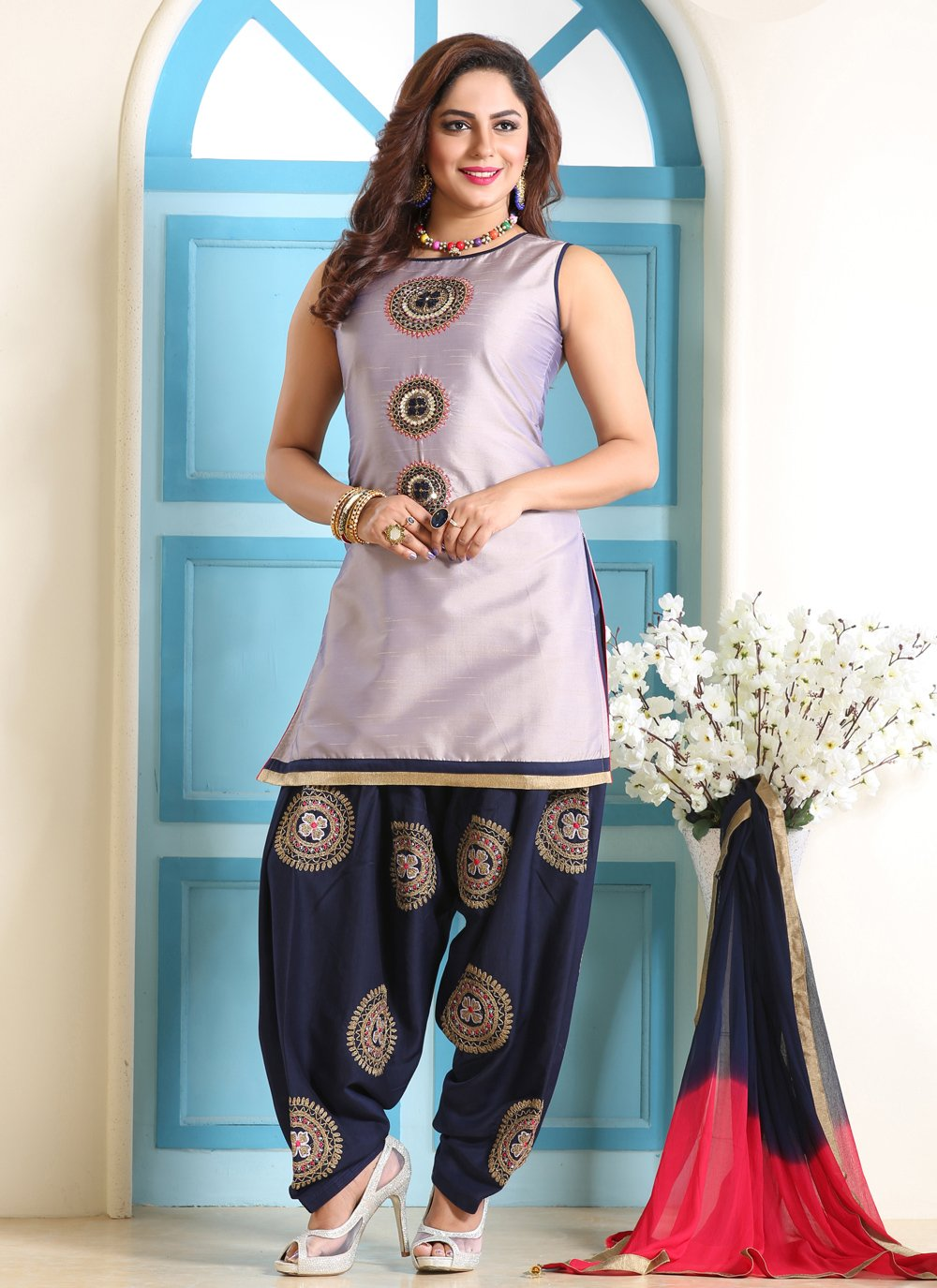 Embroidered Silk Trendy Patiala Suit
