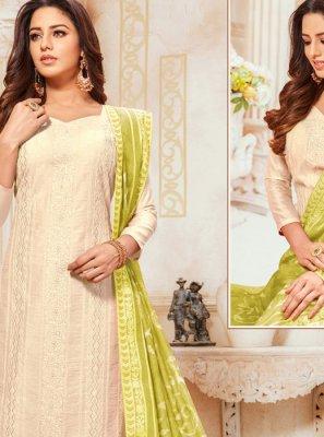 Embroidered Silk Trendy Salwar Suit in Cream