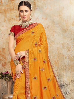Embroidered Silk Trendy Saree