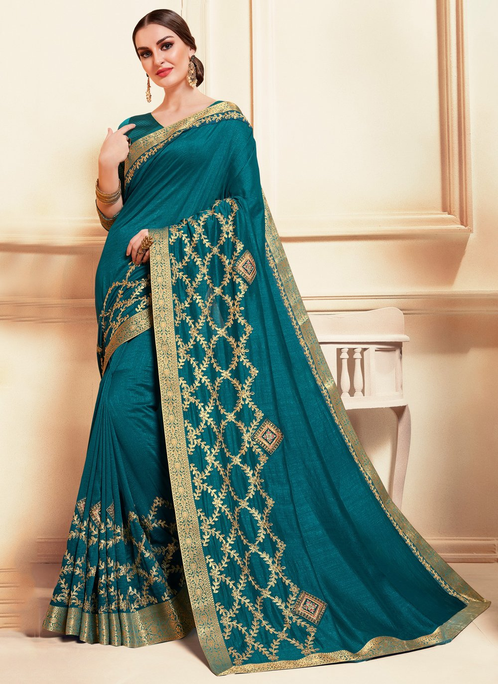 Embroidered Silk Trendy Saree