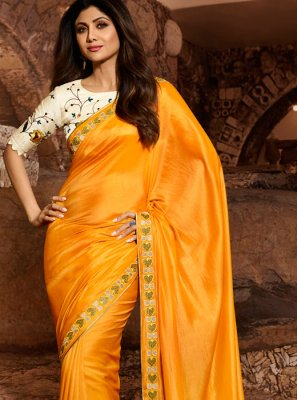 Embroidered Silk Trendy Saree in Mustard