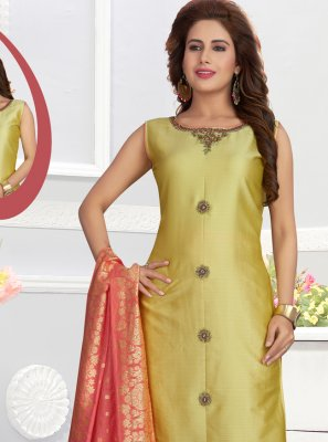 Embroidered Silk Yellow Churidar Salwar Kameez