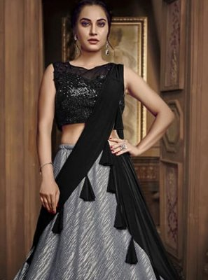 Embroidered Silver Designer Lehenga Choli
