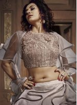 Embroidered Silver Fancy Fabric Designer Lehenga Choli