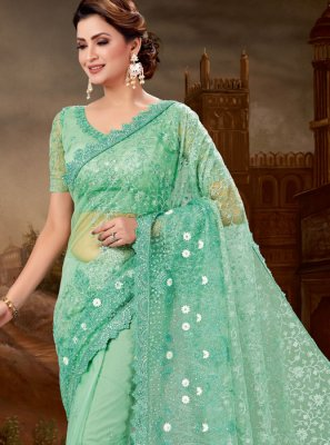 Embroidered Super Net Green Designer Saree