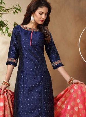 Embroidered Tafeta Silk Churidar Designer Suit