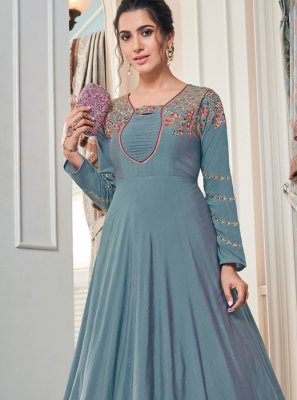 Embroidered Tafeta Silk Designer Gown