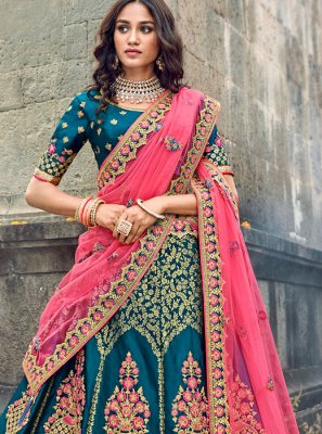 Embroidered Teal Art Silk Designer Lehenga Choli