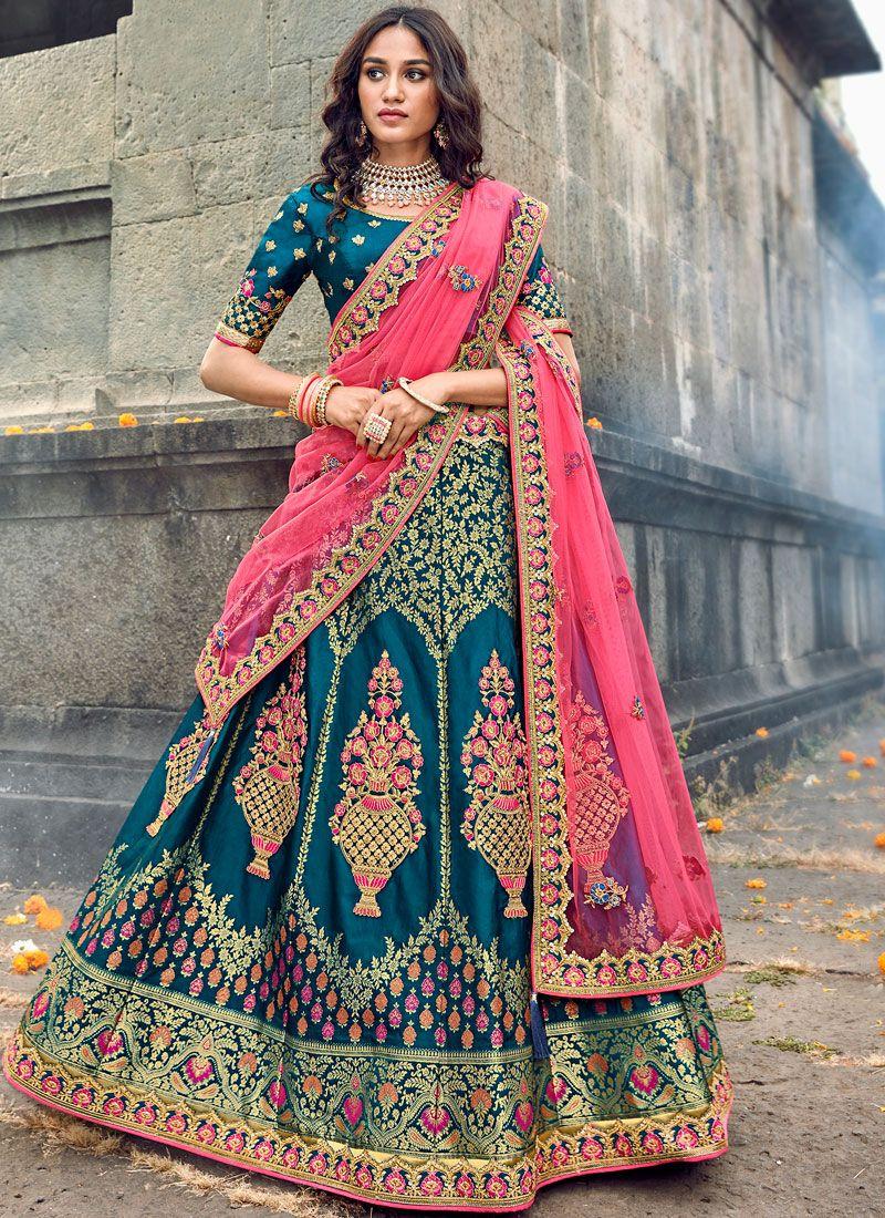 Embroidered Teal Art Silk Designer Lehenga Choli