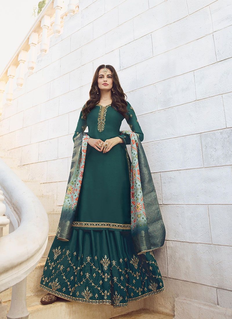 Embroidered Teal Designer Palazzo Suit