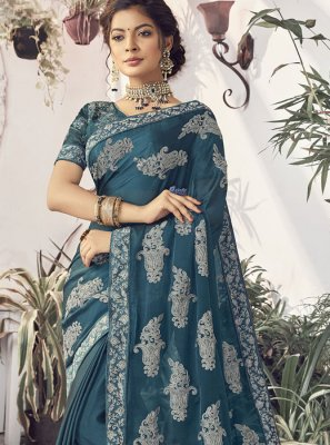 Embroidered Teal Faux Chiffon Traditional Saree