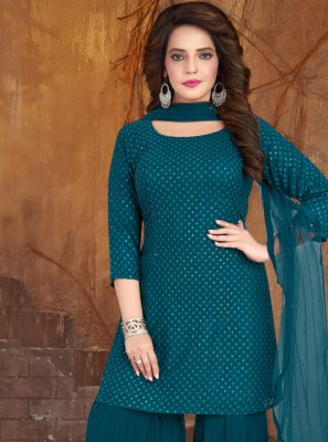 Embroidered Teal Georgette Bollywood Salwar Kameez