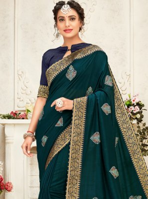 Embroidered Teal Silk Designer Saree