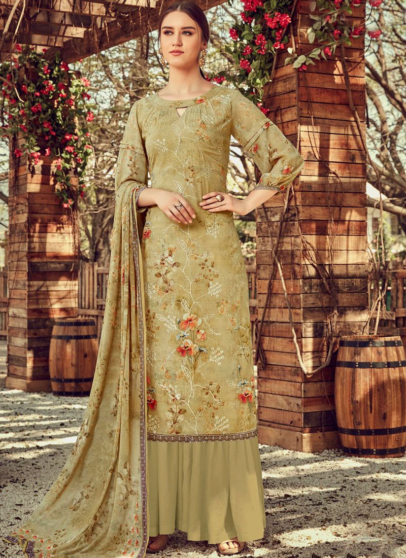 Embroidered Trendy Palazzo Salwar Suit