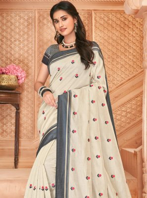 Embroidered Tussar Silk Bollywood Saree