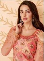 Embroidered Tussar Silk Salwar Kameez in Beige