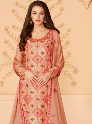 Embroidered Tussar Silk Salwar Kameez in Beige
