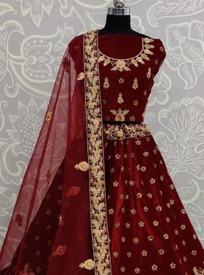 Embroidered Velvet Designer Lehenga Choli
