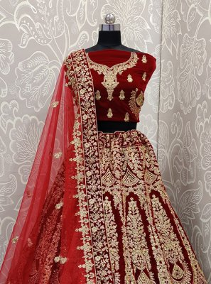 Embroidered Velvet Designer Lehenga Choli in Maroon