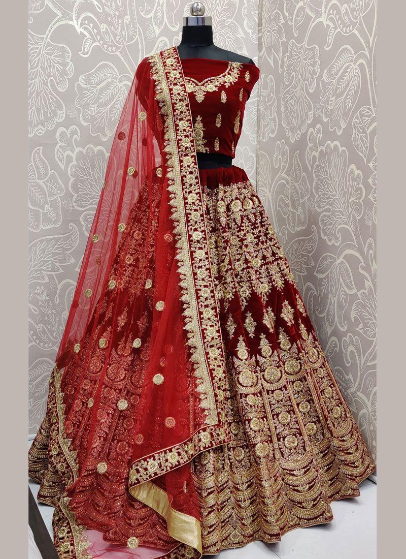 Embroidered Velvet Designer Lehenga Choli in Maroon