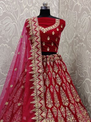 Embroidered Velvet Pink Lehenga Choli