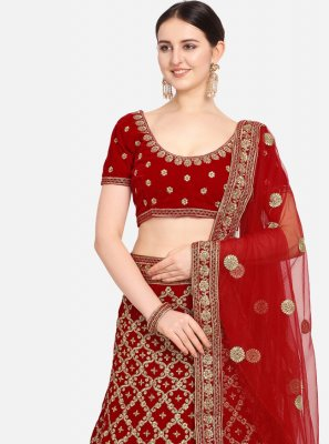 Embroidered Velvet Red Designer Lehenga Choli