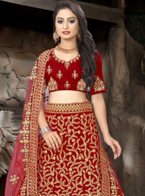 Embroidered Velvet Trendy Lehenga Choli in Maroon