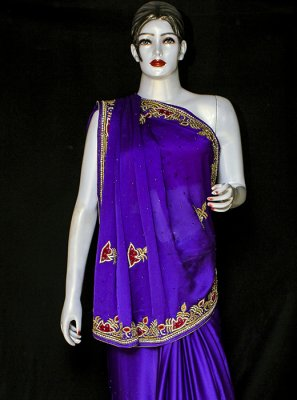 Embroidered Violet Designer Saree