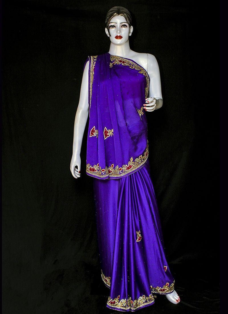 Embroidered Violet Designer Saree