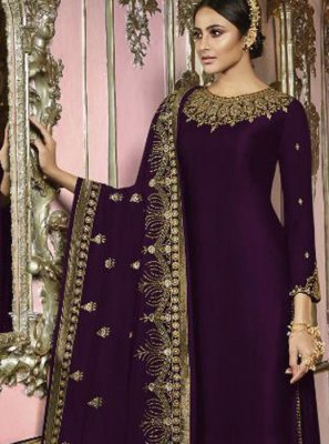 Embroidered Violet Trendy Churidar Salwar Kameez