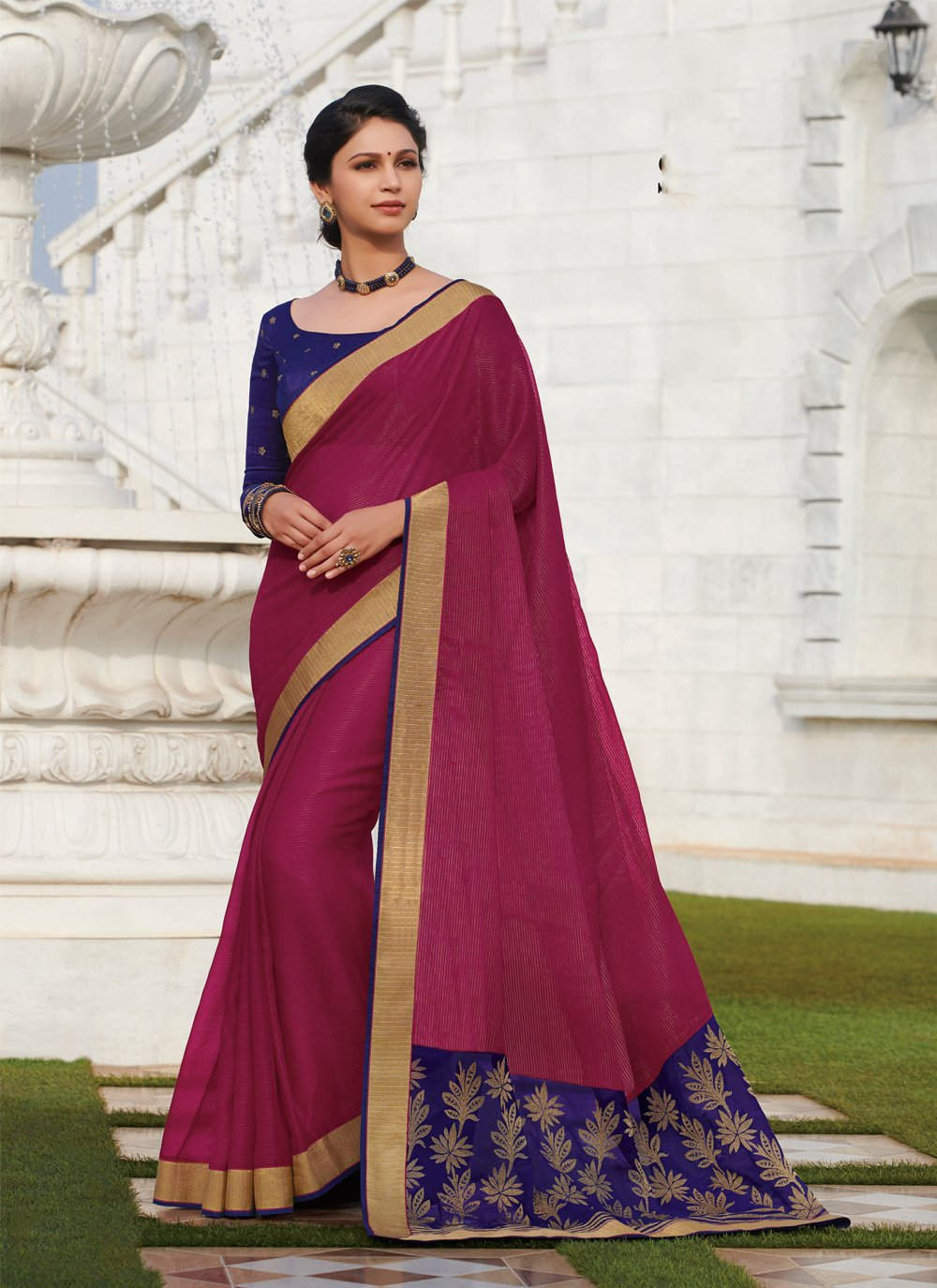 Embroidered Viscose Casual Saree in Hot Pink
