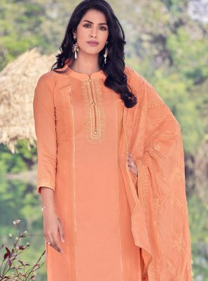 Embroidered Viscose Designer Palazzo Salwar Kameez in Orange