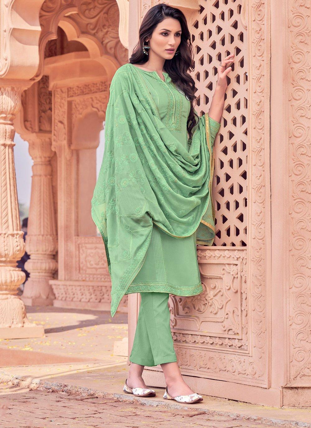 Embroidered Viscose Green Designer Salwar Kameez