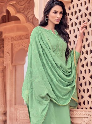 Embroidered Viscose Green Designer Salwar Kameez