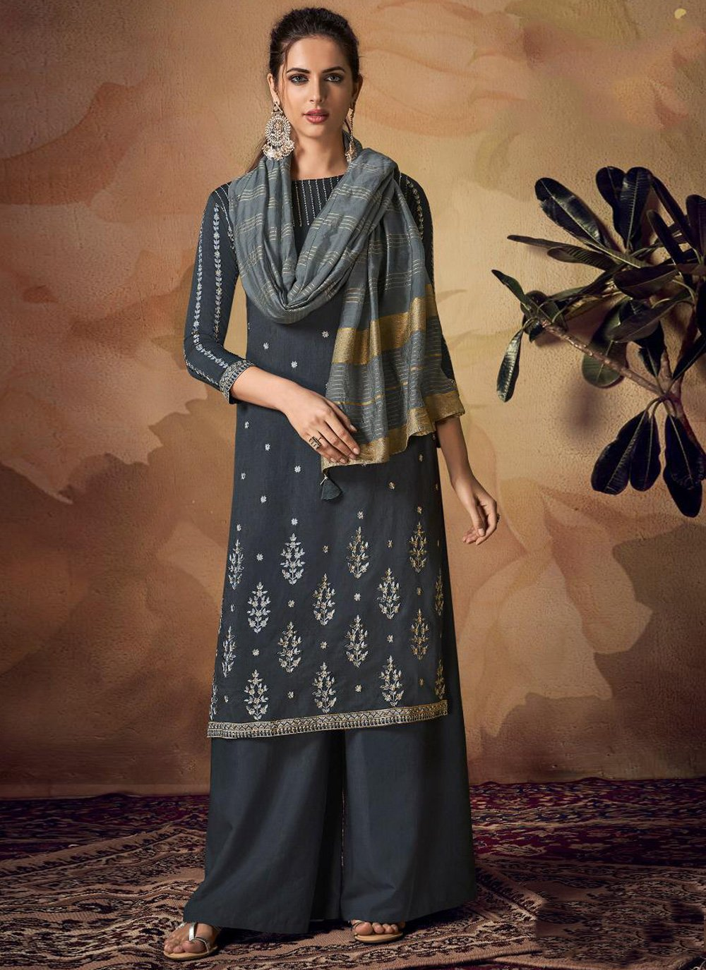 Embroidered Viscose Palazzo Designer Salwar Suit