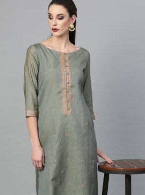 Embroidered Viscose Pant Style Suit in Grey