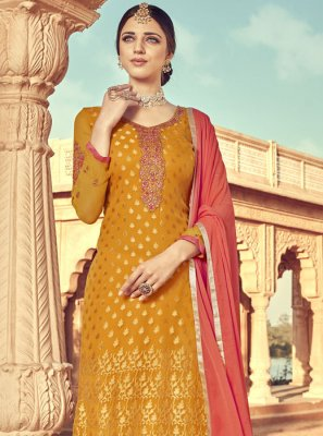 Embroidered Viscose Trendy Salwar Suit in Mustard