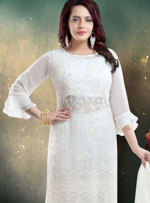 Embroidered White Faux Georgette Trendy Palazzo Salwar Suit