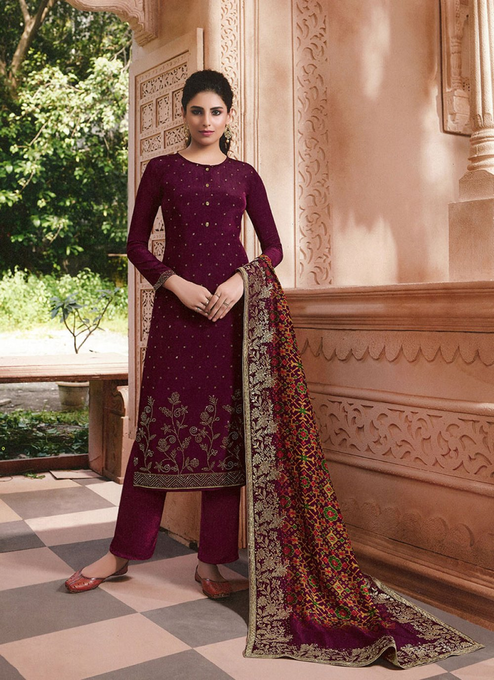 Embroidered Wine Palazzo Salwar Suit