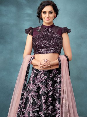 Embroidered Wine Trendy A Line Lehenga Choli